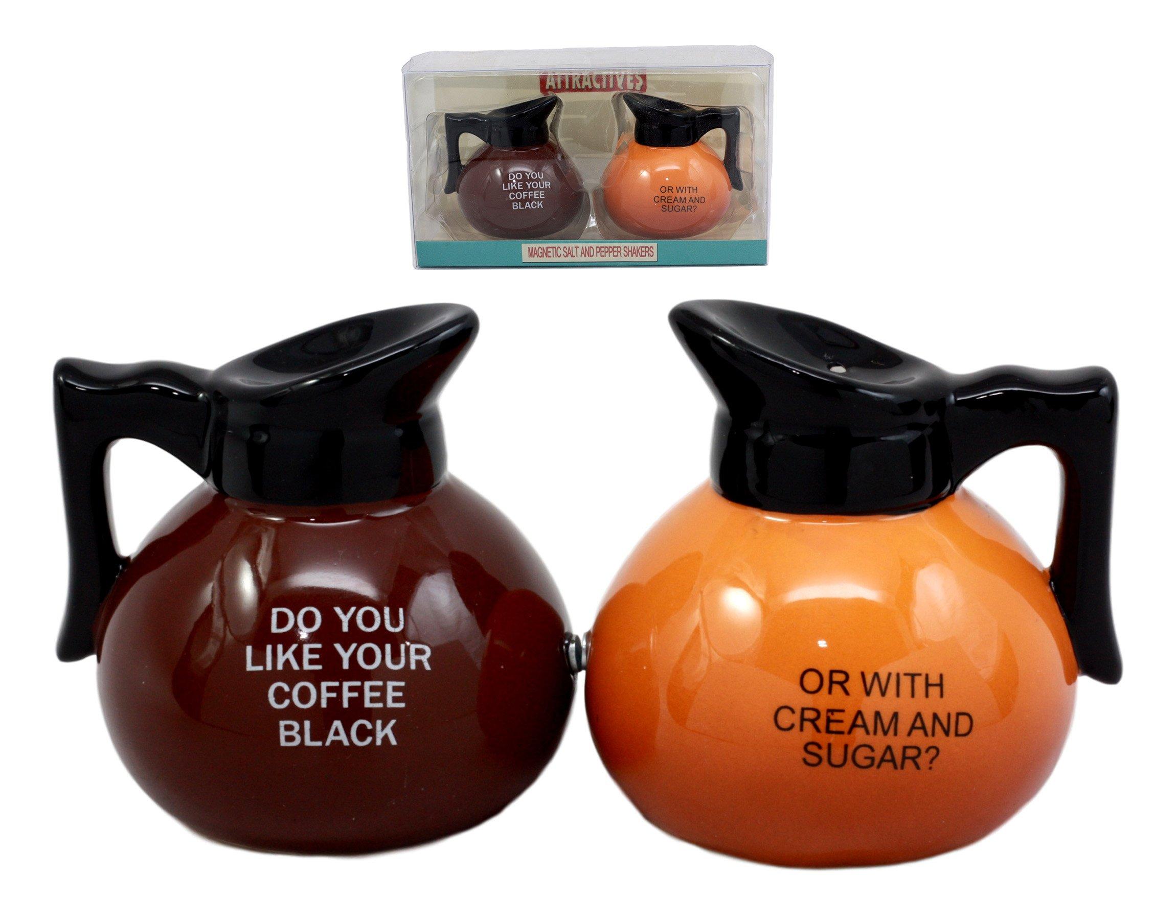 Ebros Breakfast Black Or Cream Coffee Pots Salt & Pepper Shakers Ceramic Magnetic Figurine Set 3.25''H