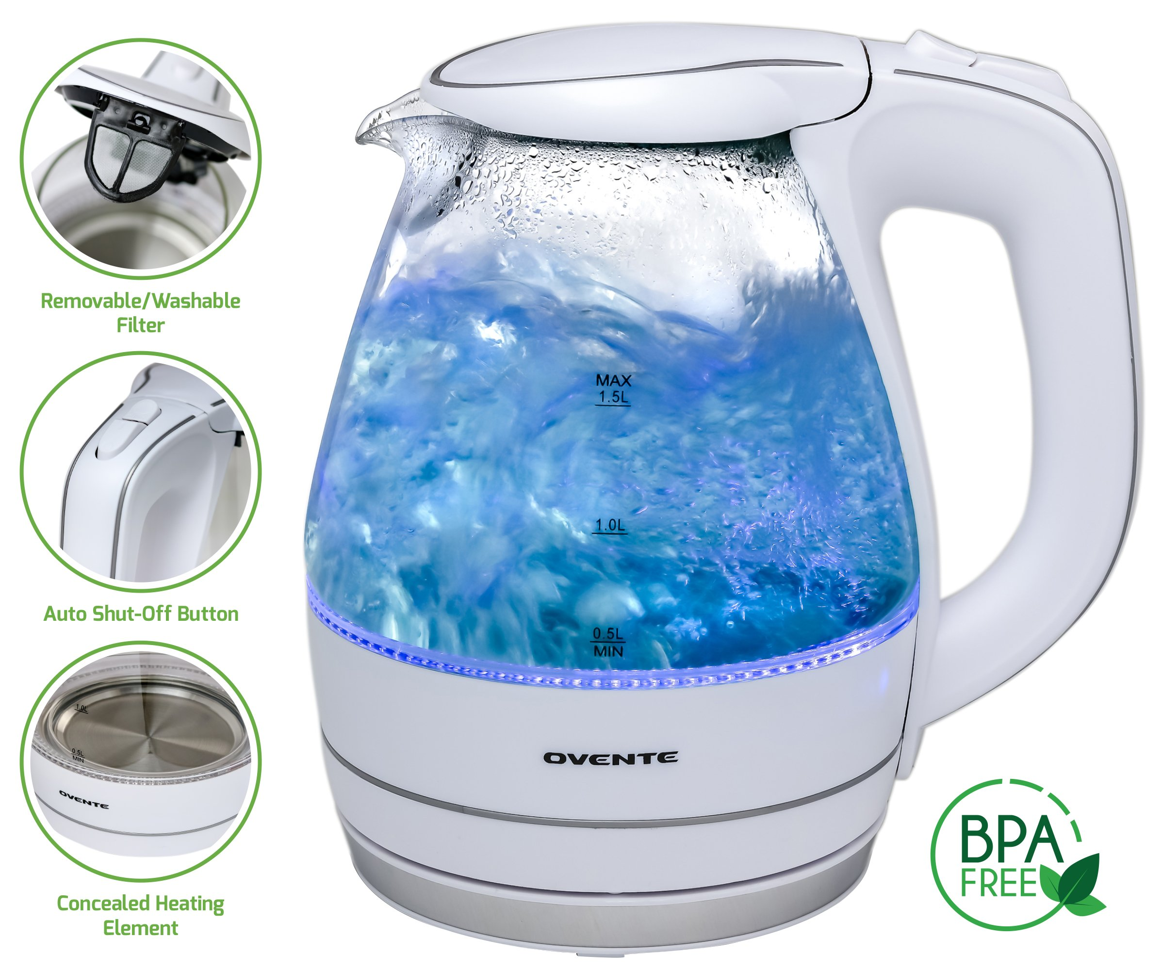 Ovente 1.5L BPA-Free Glass Electric Kettle, Fast Heating with Auto Shut-Off and Boil-Dry Protection, Cordless, LED Light Indicator, White (KG83W)