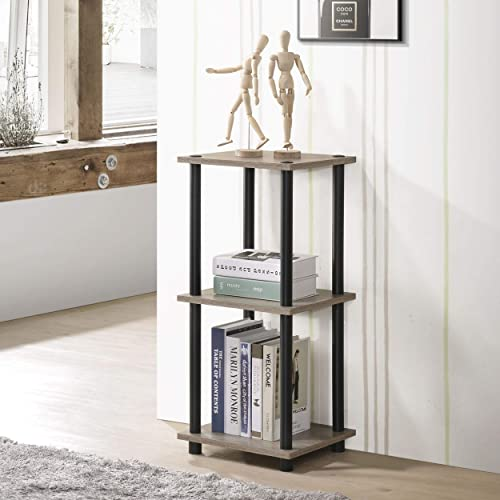 Fortress 3-Tier Shelf Plant Stand Side Table Dark Taupe Black