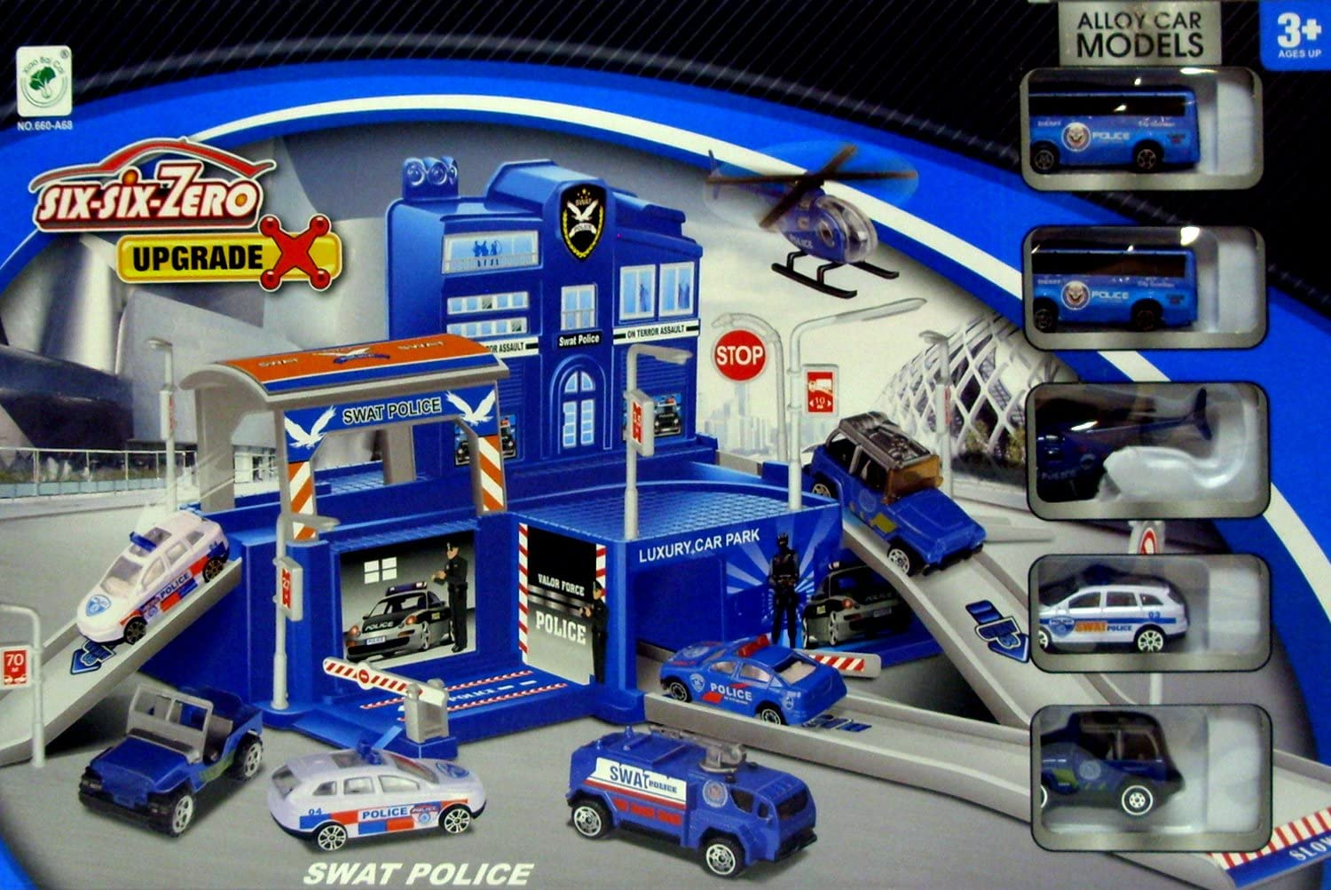 SWAT Police Play Set~Construct a Police Station complete with Garage Ramps /& Living Quarters ~ Includes 5 Police Vehicles~Great Imaginative Toy!