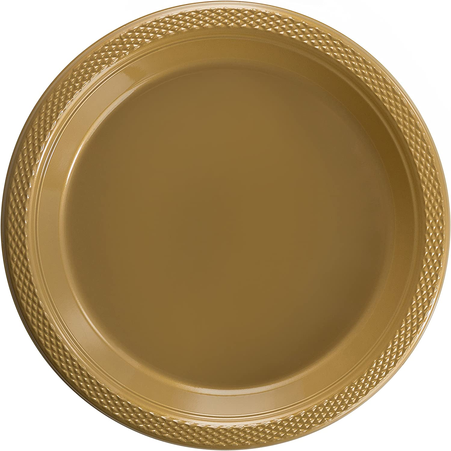 Exquisite Plastic Dessert/Salad Plates - Solid Color Disposable Plates - 100 Count (10 Inch., Gold)