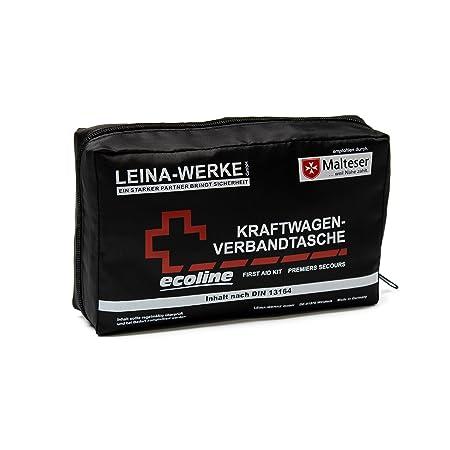 Leina Werke 11046 KFZ-Verbandtasche Compact Ecoline mit Klett, Schwarz/Weiß/Rot