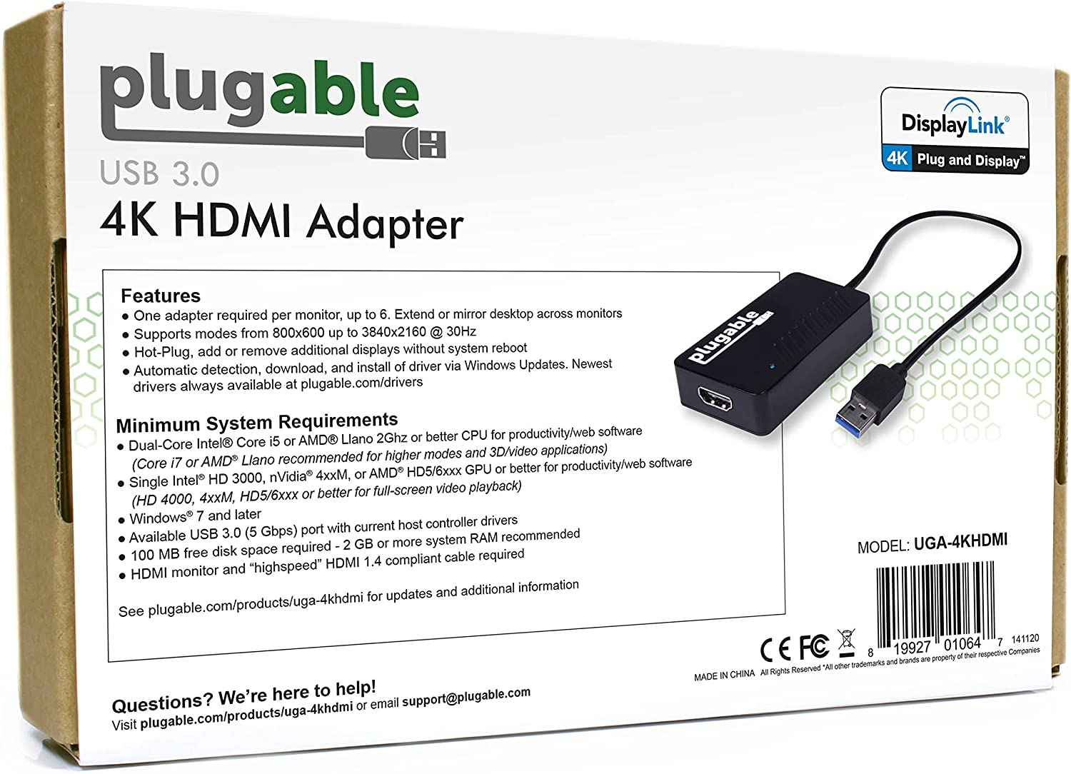 8.1 Plugable USB 3.0 to HDMI 4K UHD Video Graphics Adapter for Multiple Monitors up to 3840x2160 Supports Windows 10 7