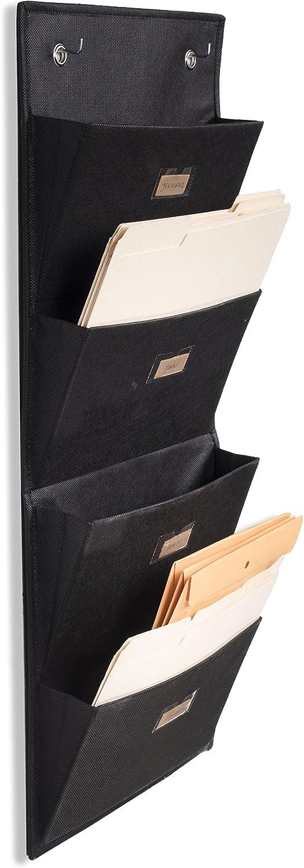 Wallniture Archivo Hanging File Folder Holder - Document Organizer with Label Tabs 4-Sectional Canvas Black (1)