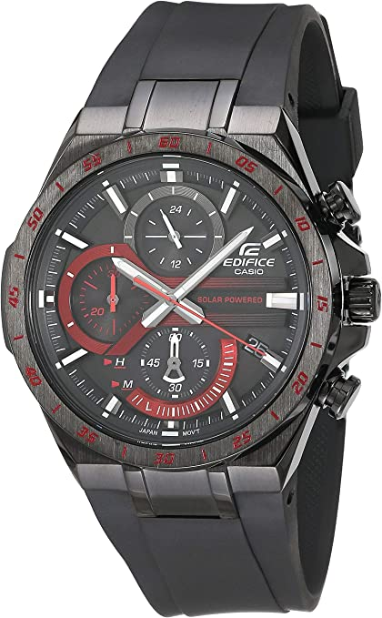 orologio casio edifice men`s stainless steel quartz watch with rubber strap, black, 28.5 eqs-920pb-1avcr