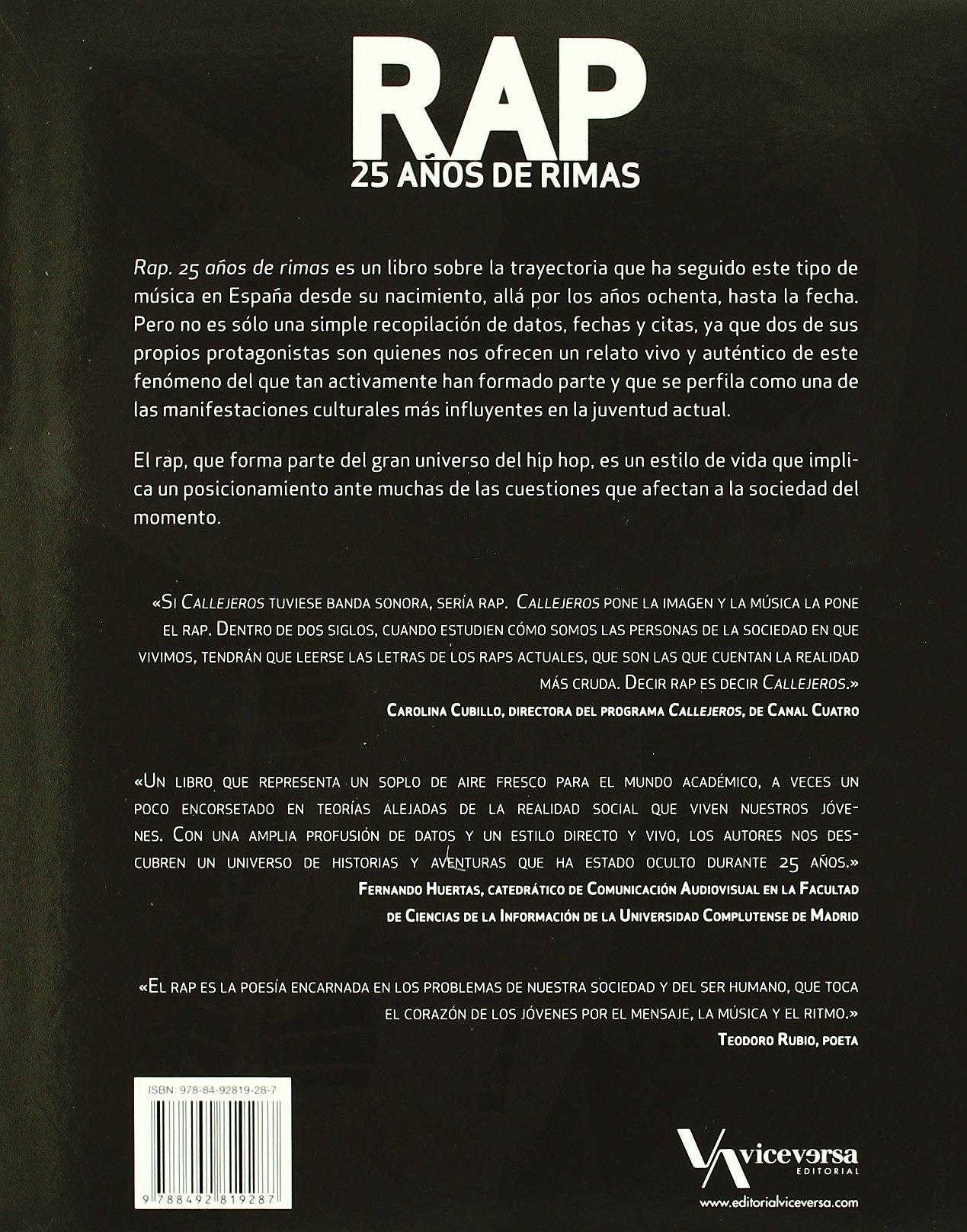 Rap 25 Años De Rimas Viceversa Ayer Y Hoy Amazon Es Reyes Francisco El Chojin Libros