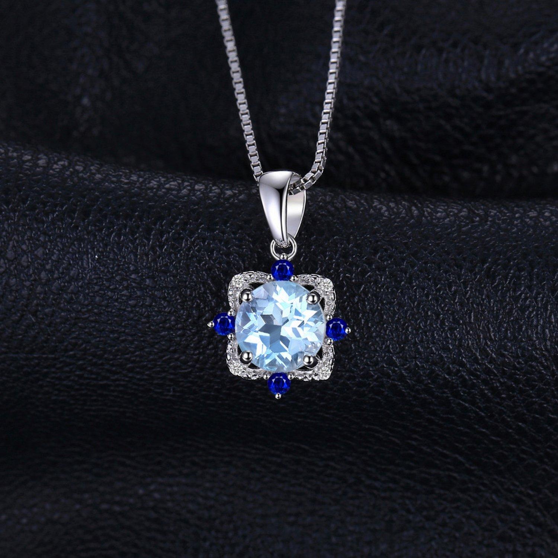 MMC Womens Necklaces Vintage 1.8ct Sky Blue Topaz Jewelry Bridel Pendants