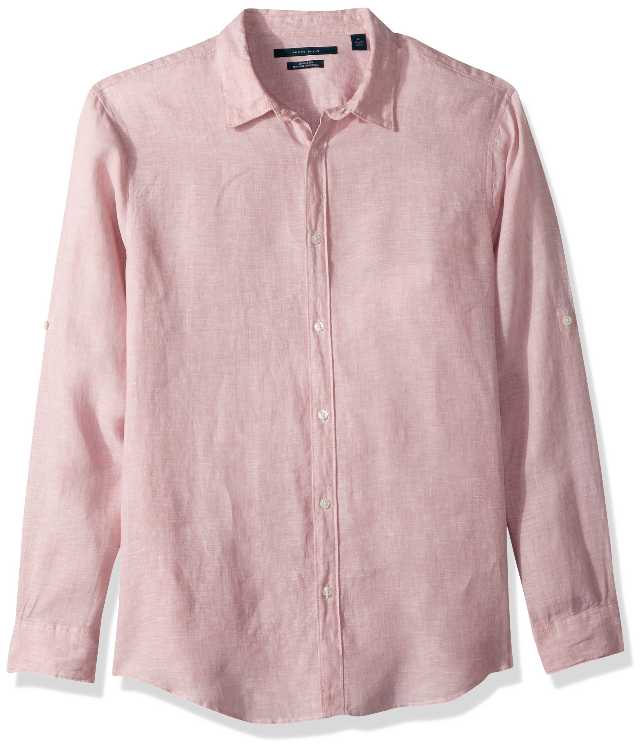 Perry Ellis Mens Rolled-Sleeve Solid Linen Cotton Button-up Shirt