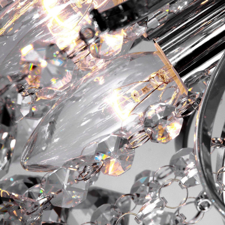 flush mount crystal chandelier. HOMCOM 3 Lights Mordern Style Ceiling Chandelier Pendant Crystal Light W/ Transparent K9 Droplets D40 X 28H (CM): Amazon.co.uk: Garden \u0026 Outdoors Flush Mount