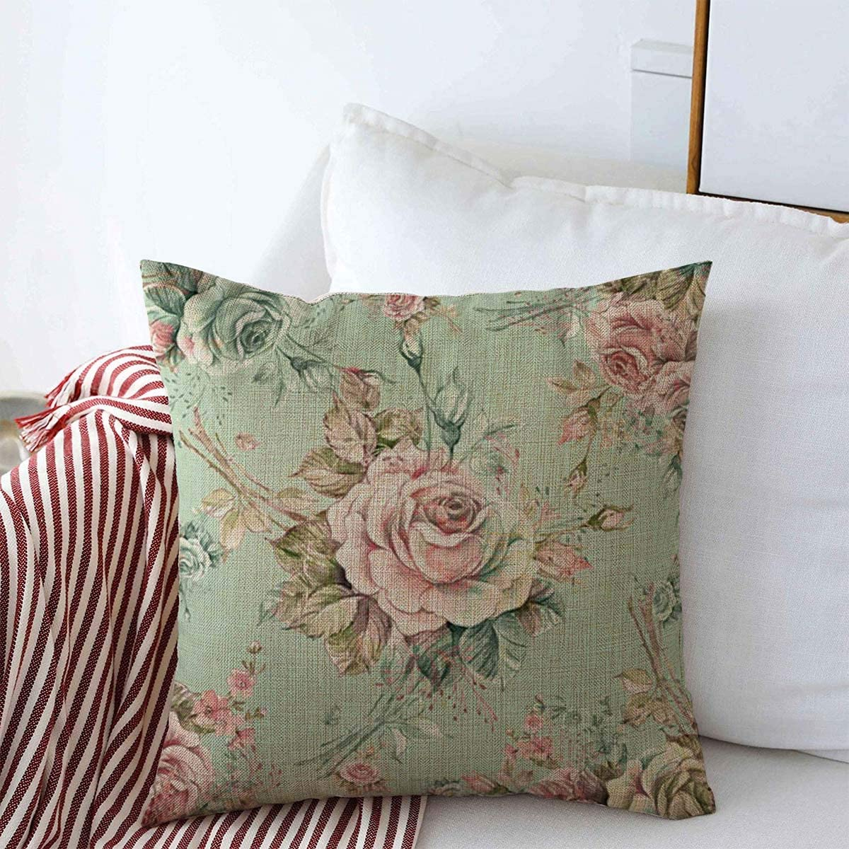 Amazon Com Pillow Case Flower Watercolor Roses Bud Nw Abstract Draw Pattern Pink Floral Vintage Victorian Baroque Drawing Farmhouse Decorative Throw Pillows Covers 18 X18 For Winter Decorations Home Kitchen
