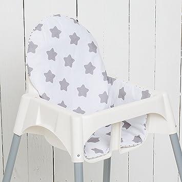 Puckdaddy Coussin Etoiles Blanc Pour Chaise Haute Antilop De Ikea