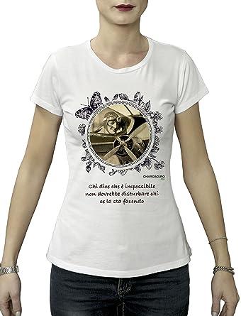 7f4989a2d5 Maglietta T-Shirt Donna Amelia Earhart Tessuto Biologico 100% Cotone Bio:  Amazon.it: Abbigliamento