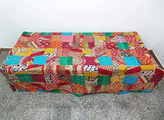 Amazon Com Hand Sew Patchwork Kantha Quilt Handmade Cotton