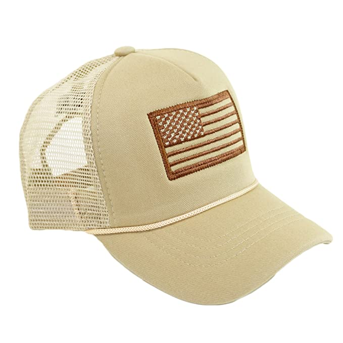 1a79e768 USA Patch Embroidery Mesh Hat America Flag Patriotic Trucker Hat Adjustable  Baseball Cap (Beige)