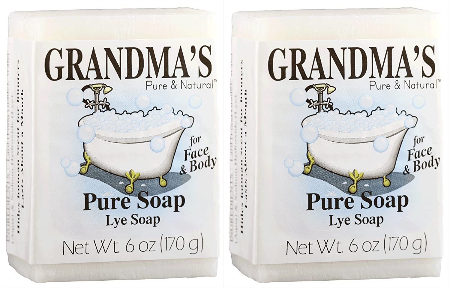 Grandma's Pure Lye Soap Bar, Unscented Face & Body Wash Cleans with No Detergens, Dyes & Fragrances - 60018, Pack of 2