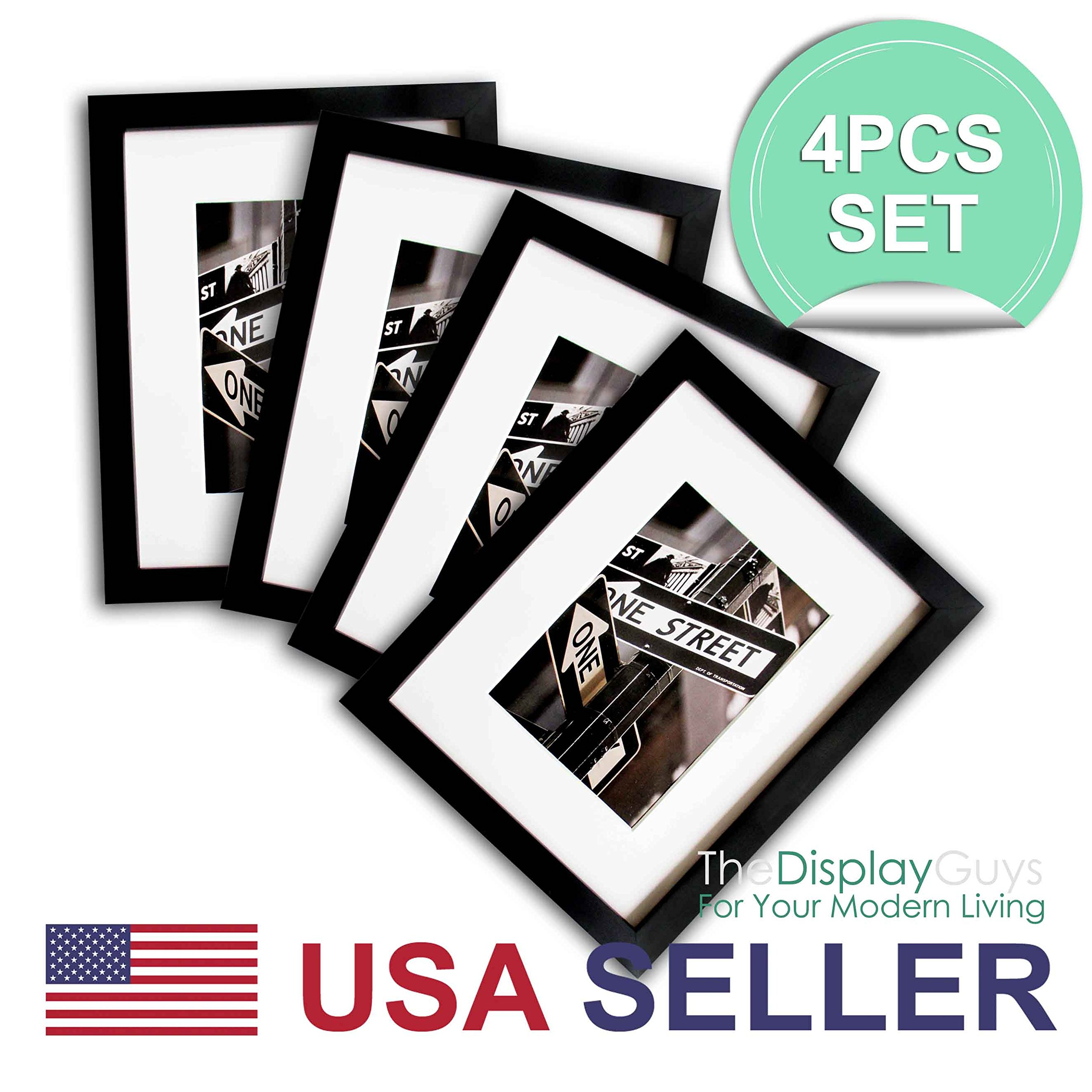 The Display Guys~ 4 Sets 11x14 Sets Matte Black Solid Pine Wood Photo Frame, Tempered Glass, Luxury Made Affordable, with White Core Mat Boards for 8x10 Picture + Collage Mat Boards for 2-5x7 Pictures by THE DISPLAY GUYS