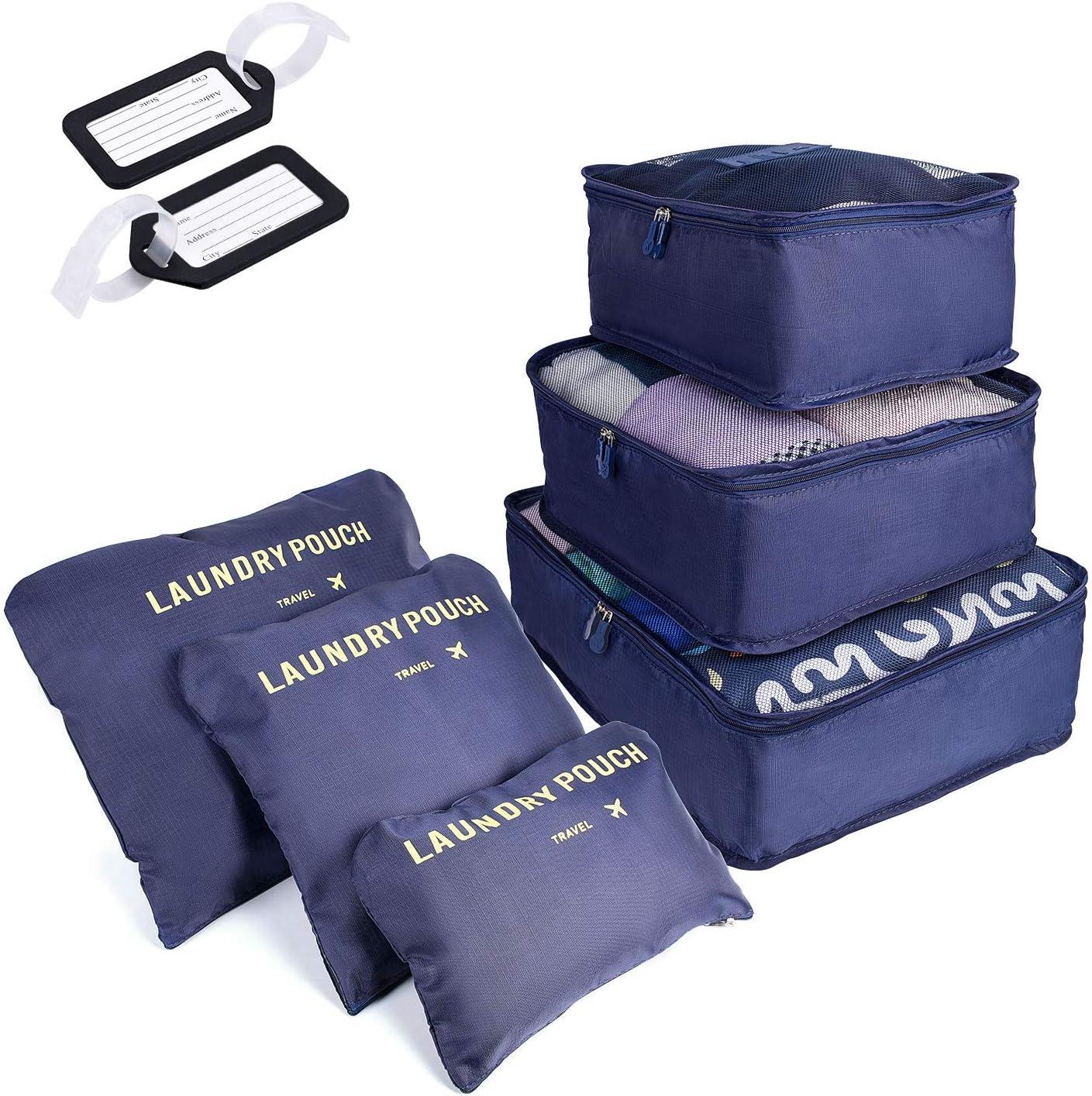 6 PCS Organizadores de Viaje para Maletas, Bolsas de Equipaje Impermeable Cubos Embalaje de Viaje Bolsas de Almacenamiento para Ropa Zapatos, Cosméticos Accesorios, Material Nylon (Azul Oscuro)
