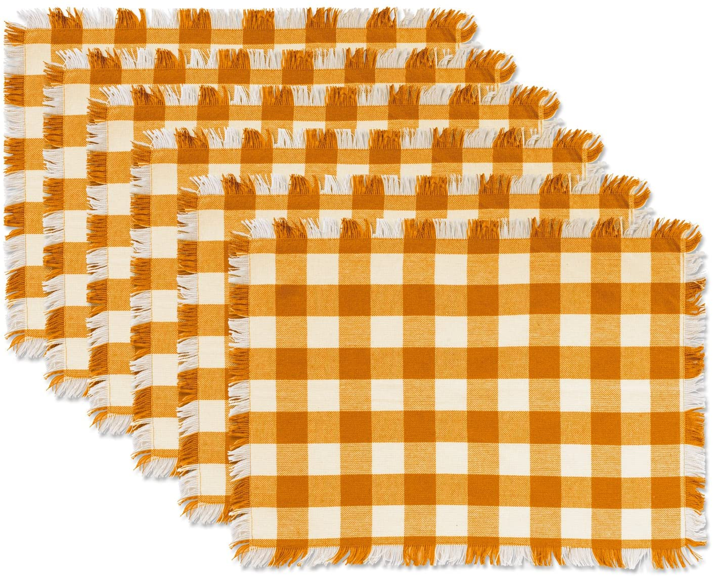 DII CAMZ37572 Heavyweight Fringed MT Check S/6, Placemat, Checkered Pumpkin Spice 6 Count