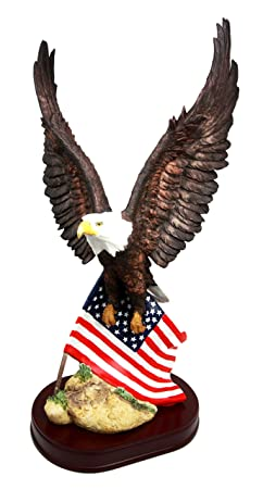 18 Tall Large Patriotic Bald Eagle Clutching On American Flag Decorative Figurine