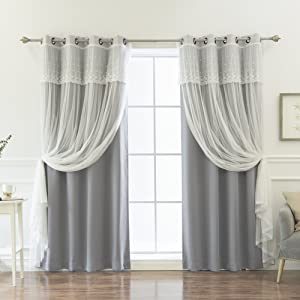 "Best Home Fashion uMIXm Mix and Match Tulle Sheer with Attached Valance & Solid Blackout 4 Piece Curtain Set – Stainless Steel Nickel Grommet Top –Grey –52""W x 84""L –(2 Curtains and 2 Sheer Curtains)"