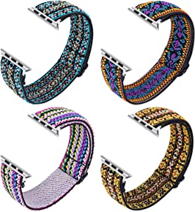 Joyozy Stretchy Loop Bands Compatible with Apple Watch Band 40mm 38mm 42mm 44mm, Elastic Adjustable Wristband for iWatch Series 6/5/4/3/2/1 (4Set Bohe Style-Blue/Purple/Colorful/Yellow, 38MM/40MM)