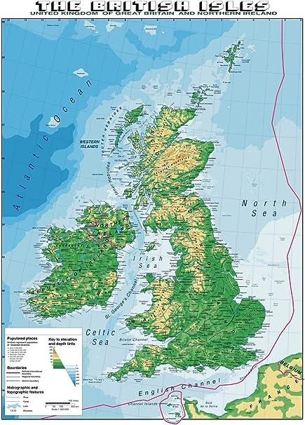 Cartina Geografica Politica Gran Bretagna.Carta Geografica Murale Gran Bretagna In Lingua Madre Inglese Amazon It Cancelleria E Prodotti Per Ufficio