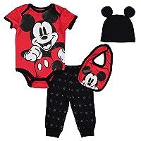 Mickey Mouse 4 Piece Layette Set: Short Sleeve Bodysuit Pants Hat Bib