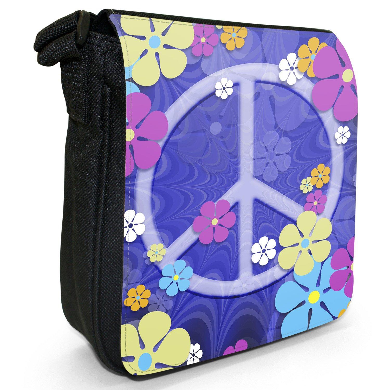 Hippy Flower Power Peace Sign Groovy Sixties Vintage Small Black Canvas Shoulder Bag / Handbag Snuggle