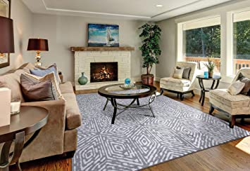 Amazon Com Diagona Geometric Cubes 8x10 Area Rug 92 W X 116 L Gray Ivory Furniture Decor