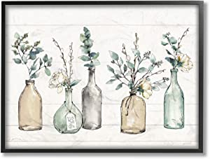 Stupell Industries Bottles and Plants Farm Wood Textured Black Framed Wall Art, 11 x 14, Design by Artist Anne Tavoletti