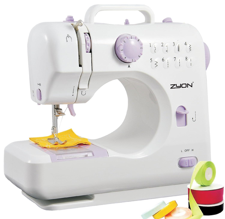 Máquina de coser compacta de doble hilo y doble velocidad (Alta/Baja) con 8 tipos de puntada incorporados - NUEVA versión con botones de color púrpura: ...
