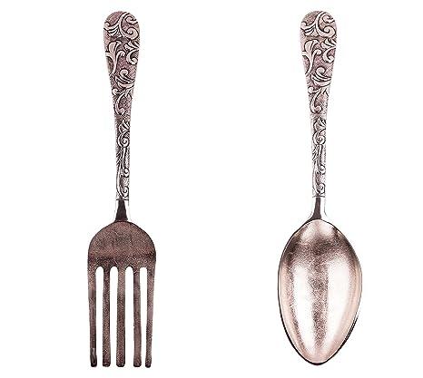 Cubiertos de Pared XXL Baptiste 2 Piezas, Tenedor y Cuchara de Aspecto Antiguo,