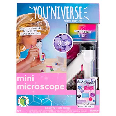 YouNiverse Mini Microscope by Horizon Group Usa, Stem Science Kit, Includes 1 Microscope, 5 Prepared Slides, 6 Blank Slides & More: Toys & Games