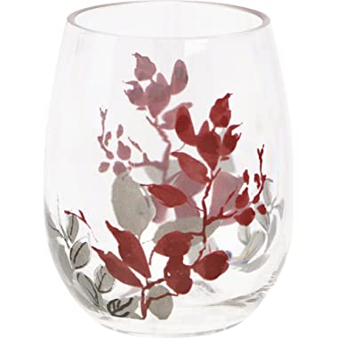 Corelle Coordinates by Reston Lloyd Kyoto Leaves Acrylic Stemless Wine Glasses (Set of 4), 16 oz, Clear