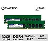 Timetec 32GB KIT(2x16GB) for Synology RS1619xs+, RS2418+, RS2418RP+, RS2818RP+, RS3617xs+, RS3617RPxs, RS3618xs, RS4017xs+ DDR4 2400Mhz ECC Unbuffered Memory (Equivalent to Synology 2xD4EC-2400-16G)