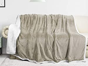 Catalonia Sherpa Blanket for Bed,Super Soft Fleece Plush Sofa Couch Throw Blanket,TV Bed Blanket,Comfy Cozy Fluffy Warm Comforter,Caring Gift (Camel,60x80 inches)