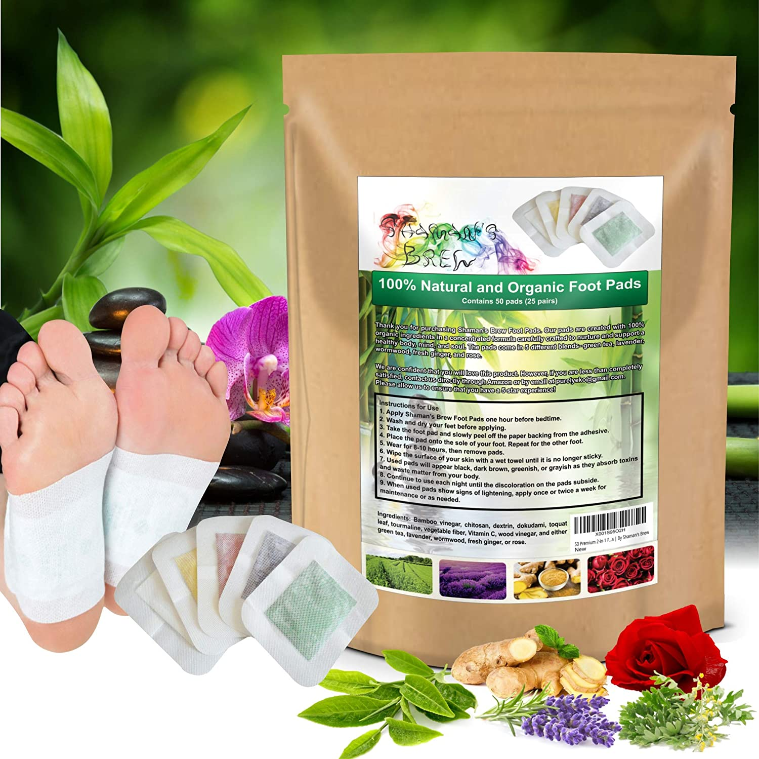 50 Premium 2-in-1 Foot Pads | Concentrated Formula | for Foot Care, Pain Relief, Relaxation, General Well-Being | 5 Special Blends | by Shaman's Brew: Health & Personal Care