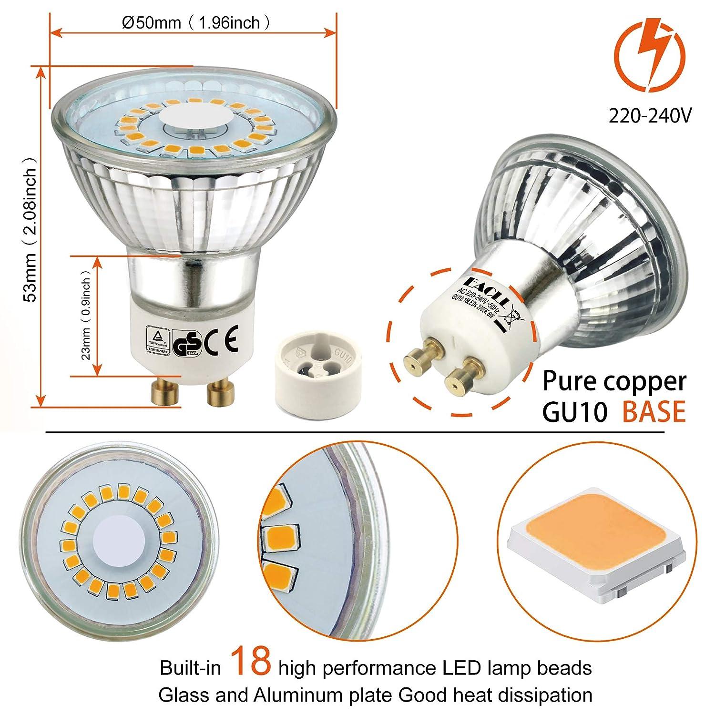 EACLL Bombilla LED GU10 Pack de 5 120 /° Luz Blanca C/álida Bombillas LED Blanco C/álido GU10 LED 5W 470 L/úmenes L/ámpara LED equivalente a Hal/ógena de 60W