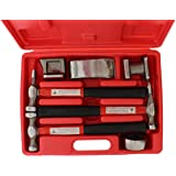 ABN Auto Body Shaping and Forming Repair 7-Piece Kit – Fender Roller Fixer Dent Remover Tool Set with Hammer and Dolly