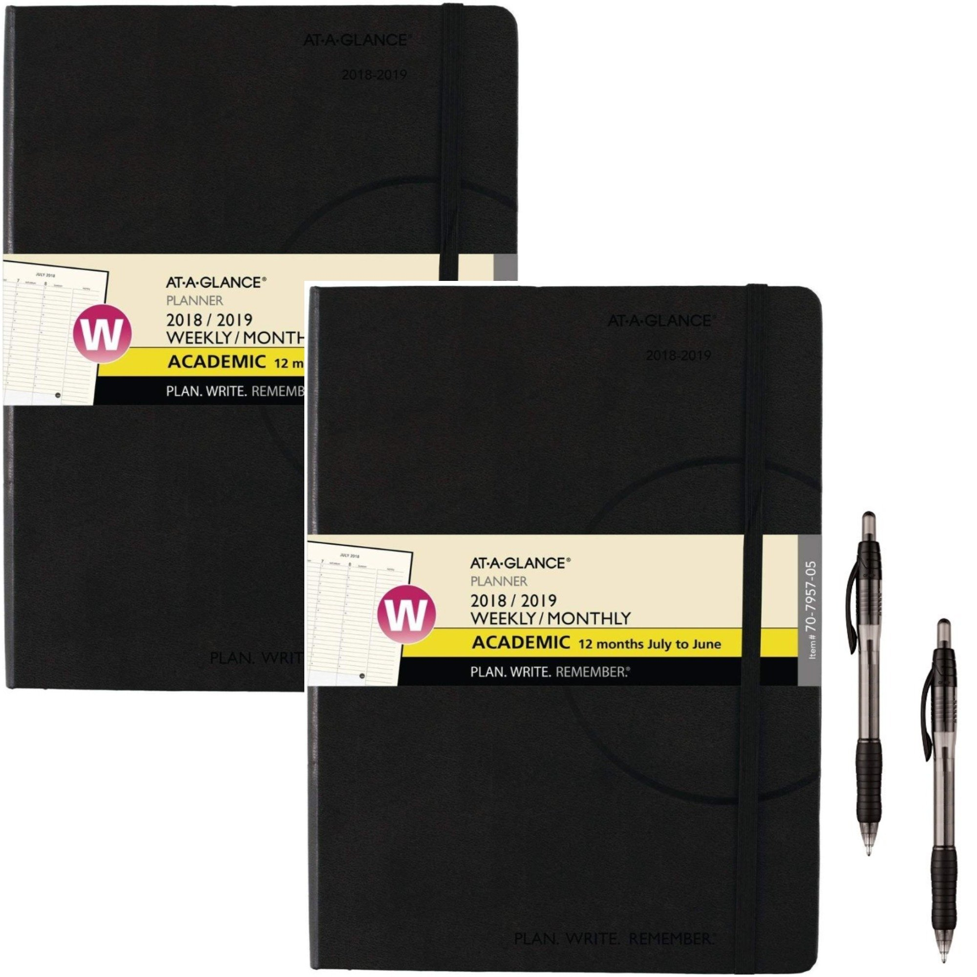 AT-A-GLANCE 2018-2019 Academic Year Weekly & Monthly Planner/Appointment Book, Medium, 7-1/2 x 10, Plan.Write.Remember. (70795705) 2 Pack - Bundle Includes 2 Black Ballpoint Pen
