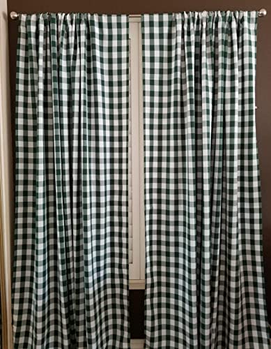lovemyfabric Gingham/Checkered 100 Polyester Curtain Window Treatment/Decor Panel-Hunter Green and White 2