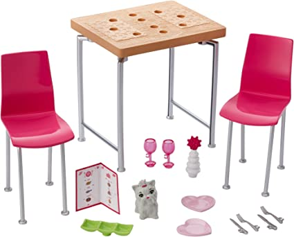 Amazon Com Barbie Furniture And Pet Set With Dining Table And Two Chairs Toys Games