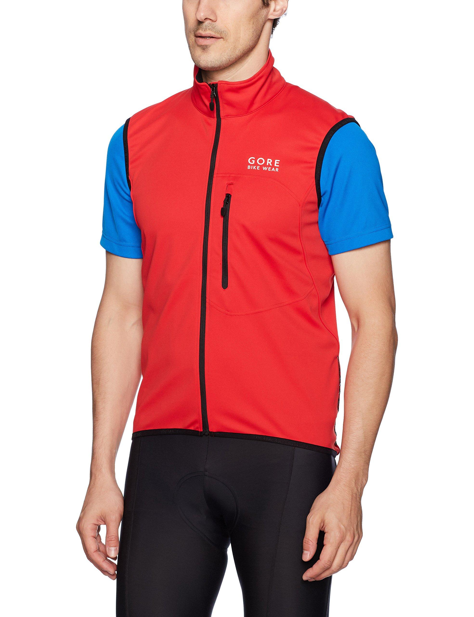 GORE BIKE WEAR Men's Soft Shell Cycling Vest, GORE WINDSTOPPER,  Vest, Size: XL, Red, VWELEM