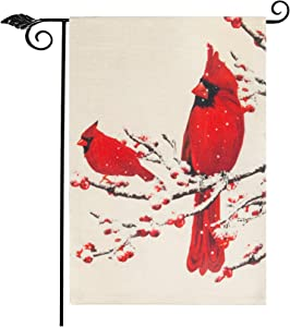 "Roberly Christmas Garden Flag with Cardinal Red Bird, Vertical Burlap Double-Sided Snow Winter Christmas Yard Flag for Farmhouse Vintage Seasonal Outdoor Xmas Decoration Christmas Gifts(12.5"" x 18"")"
