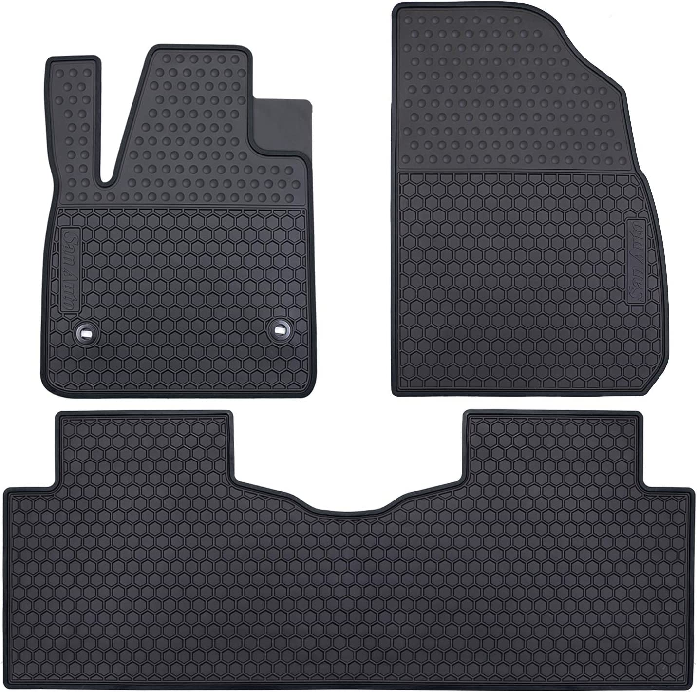 San Auto Car Floor Mats Fit for 2017-2021 Cadillac XT5, 2017-2020 GMC Acadia, 2019-2021 Chevrolet Blazer Front & 2nd Seat Floor Liners Rubber Full Black All Weather Heavy Duty Odorless