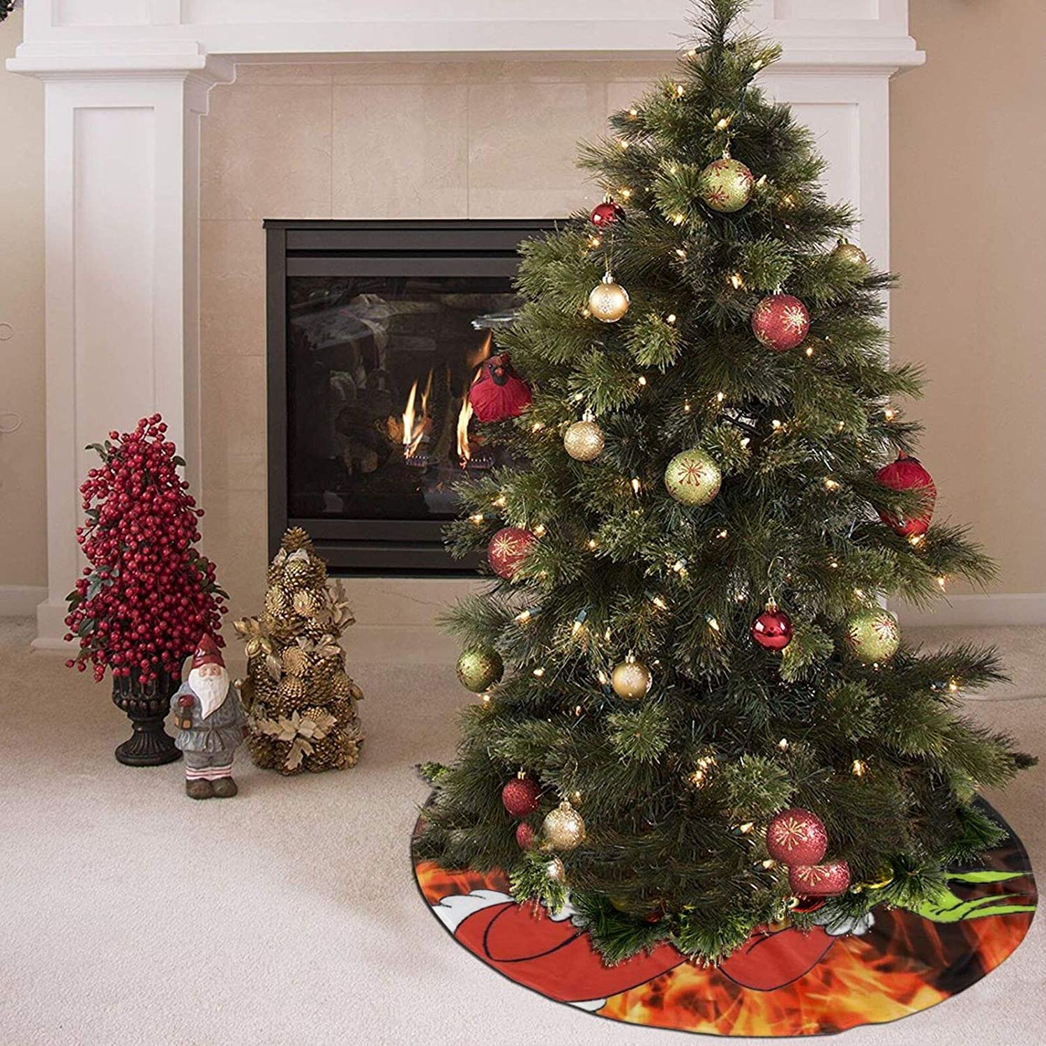 36 Inch How The Grinch Stole Christmas Christmas Tree Plush Skirt Xmas Tree Skirt Christmas Party Decorations Holiday Tree Ornaments Christmas Decoration for Trees Home Decorations