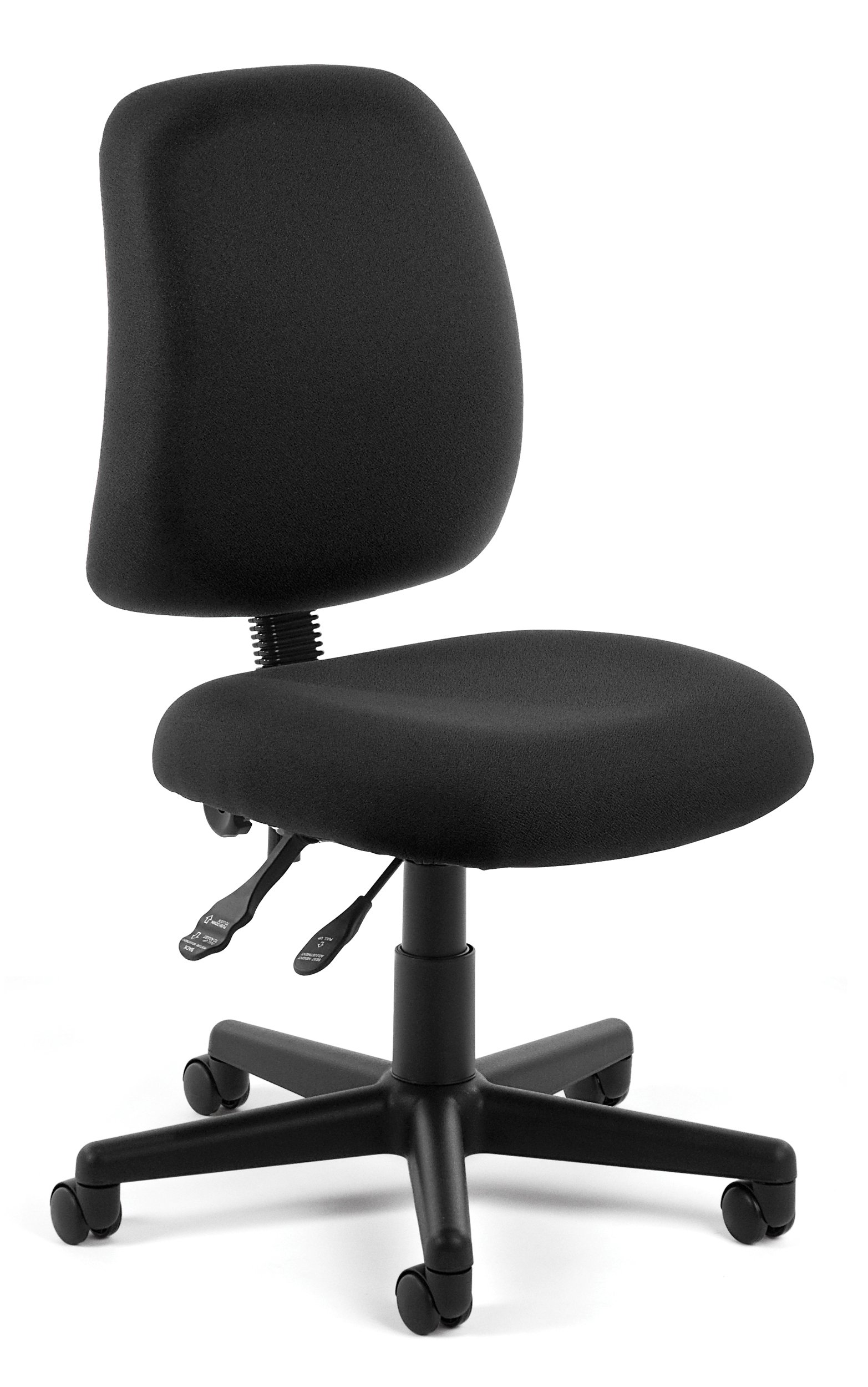 OFM Posture Series Armless Mid Back Task Chair - Stain Resistant Fabric Swivel Chair, Black (118-2)