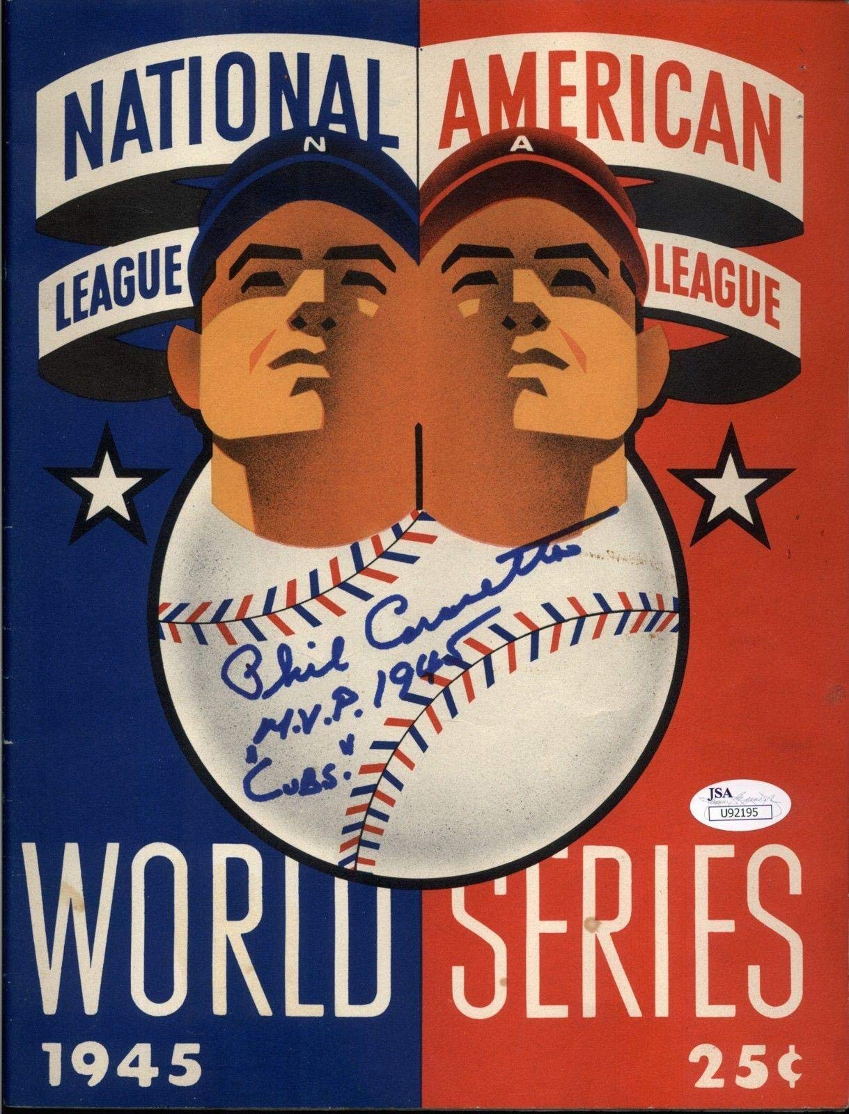"Phil Cavaretta""MVP 1945 Cubs"" Signed 1945 World Series Program V. Tigers JSA Certified Autographed MLB Magazines"