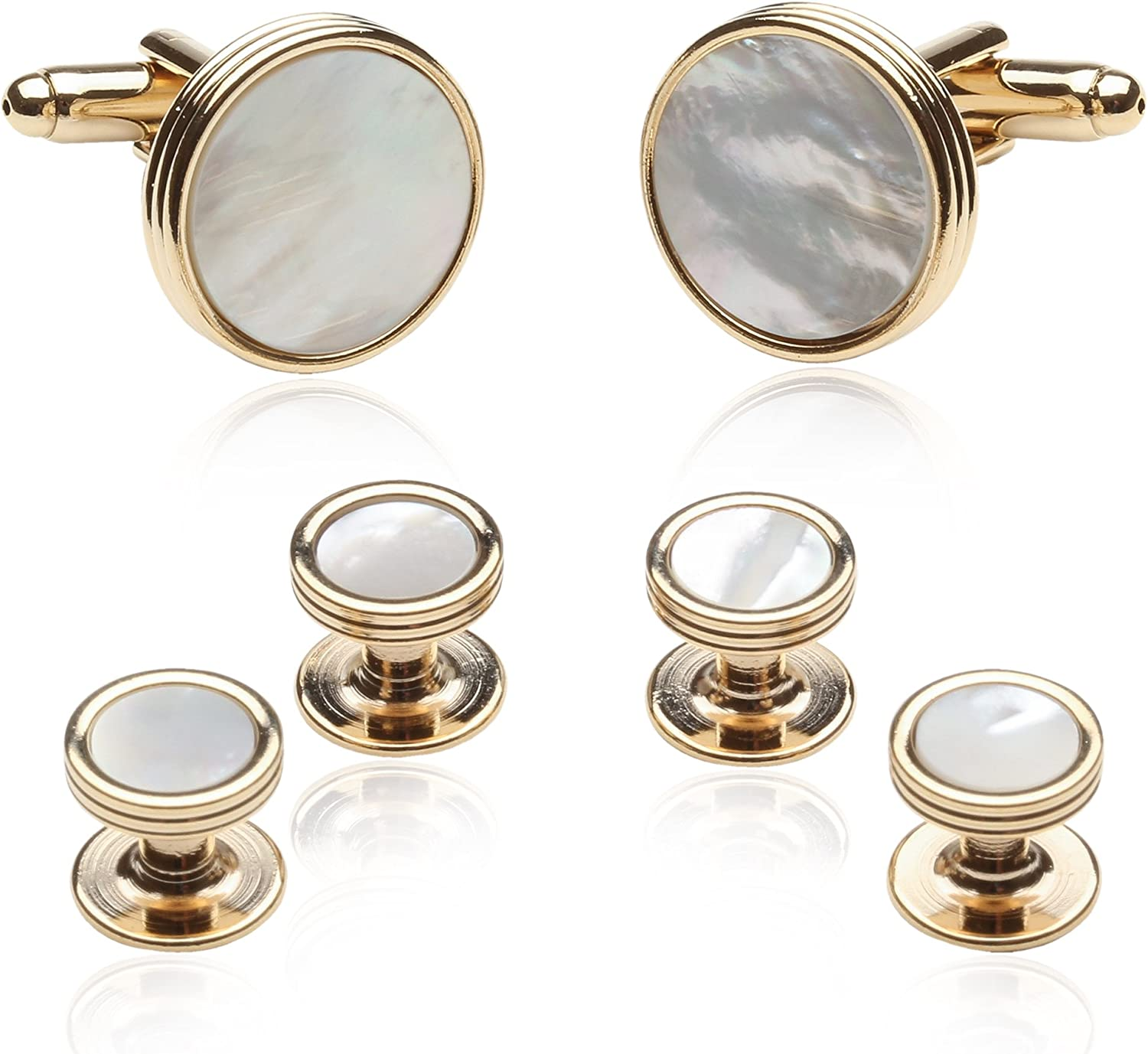Cuff-Daddy Mother of Pearl and Gold Tuxedo Cufflinks and Studs Formal Set with Gift Box