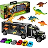 Aokesi Car Toys Transport Carrier Truck Dinosaur Toys for 3-12 Years Old Boys and Girls (Includes 6 Dinosaurs and 6 Mini…